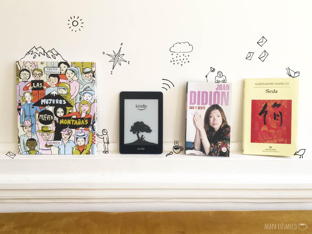 Libros para viajar desde casa, kindle e ilustraciones de viaje, montañas, sol, nubes, café